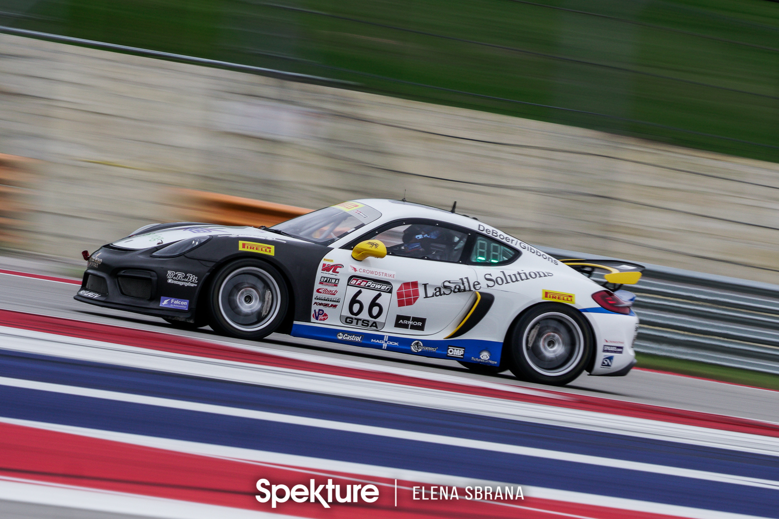 Earchphoto - The TRG Porsche on the track at COTA.