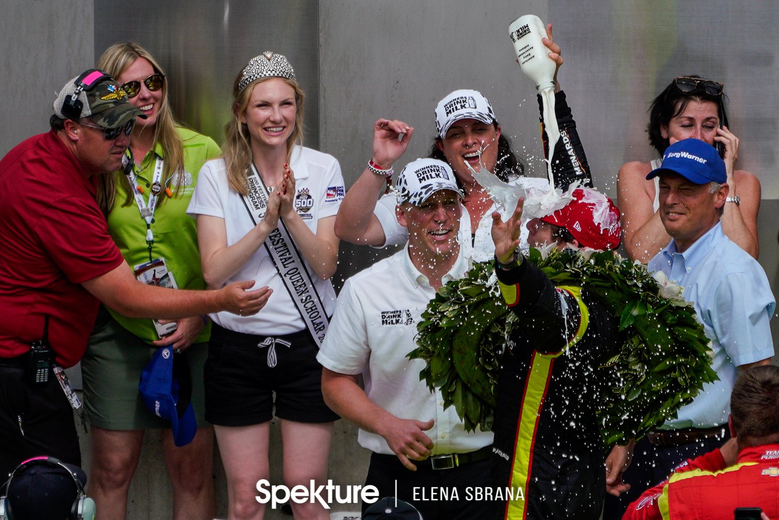Earchphoto Sports - IMS traditions: Simon Pagenaud with the bottle of milk